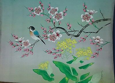 """Vintage 1940 1950s Made in Occupied Japan silk screen painting 15.5×17.5"""""""