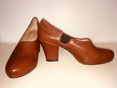 GORMAN Brown Leather Boot Clog Chunky Heels Size 40