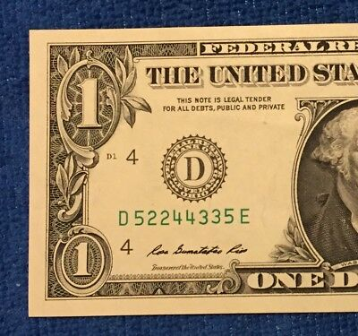 5.22.44.33.5 Mixed Four Pair Ladder, Bookend, Fancy Serial Number $1 Note 2013