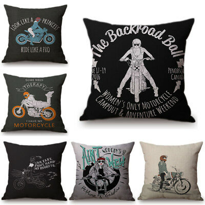 Ride Motorcycle Style Cushion Covers Pillow Case Europe Letter Cartoon Coussin