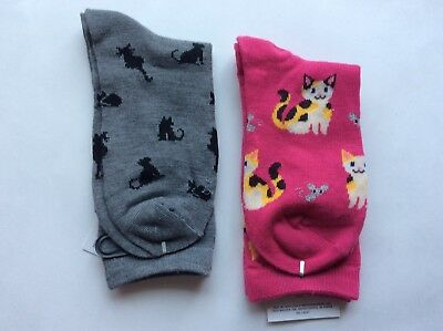 "2 Pairs Womens Novelty ""Lots Of Cats"" Socks * Nwt *pink/gray * Sz 9-11"