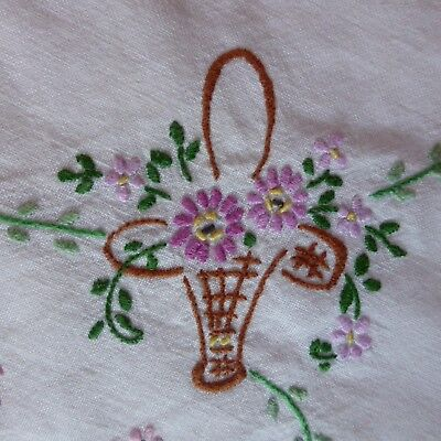 Gorgeous Vintage Hand Embroidered White Linen Tablecloth Floral Baskets Daisies