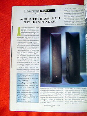 "Acoustic Research 312 HO loudspeaker test review ""Audio"" magazine 12/96"