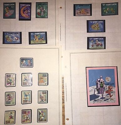 St Lucia / San Marino Disney World Stamps Goofy Mickey Mouse Donald Duck Lot