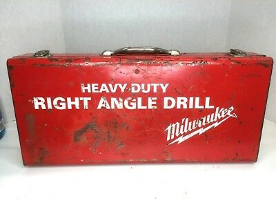 Vintage Milwaukee Corded Right Angle Drill w/ Accessories and Original Box