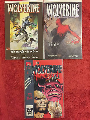 Wolverine Jungle Adventure, Inner Fury. Saga 3 Marvel LOT of 3 VF+ Prestige