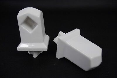 Antique Vintage Fairfacts F-300 White Tile-In Towel Bar Ends Brackets 1920's #1