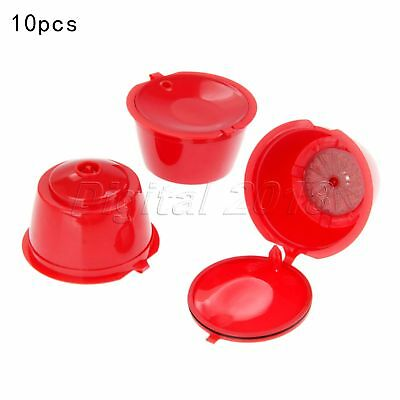 Red Refillable Capsules Pods Cups For Nescafe Dolce Gusto Filters 10X i Cafilas
