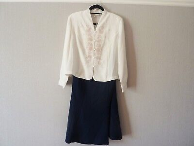 Eastex White Navy Blouse Skirt Outfit Size 16