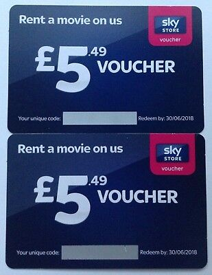 2 x £5.49 Sky Store Vouchers - Fast Email Delivery