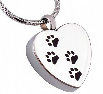 Heart Footprint Pet Memorial Necklace For Ashes Dog Cremation Urn Pendant Gifts