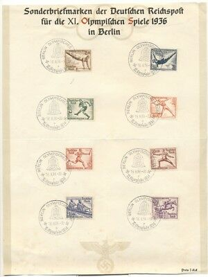 GERMANY: 1936 Olympics Set, Commemorative Sheet w/Special LAST DAY Cancels