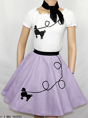 "3PC LAVENDER 50's Poodle Skirt outfit Girl Sizes 7,8,9 Waist 20""-27"" Length 20"""