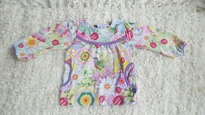 MOLO Baby Girl Floral/Flower and Bugs shirt/top/tunic 74cm /6-9months Beautiful