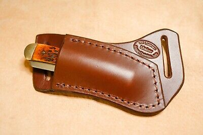 "Custom Leather Cross Draw Sheath for 4"" Trapper (right hand)(light brown)"