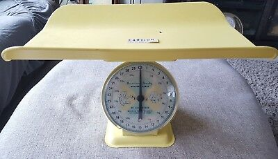 Vintage American Family Scale Co. Metal Nursery Scale w/Basket Yellow, nice