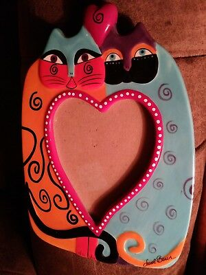 """LAUREL BURCH COLORFUL DOUBLE CAT  PICTURE FRAME FROM GANZ COLLECTION NWT 8x6"""""""