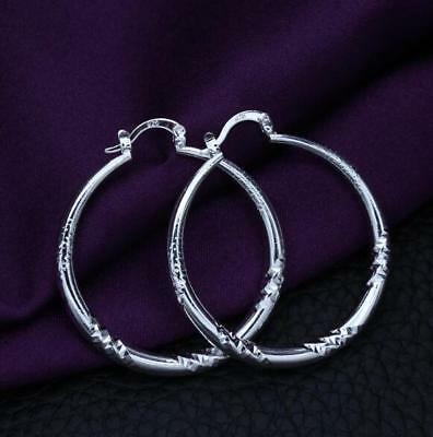 Womens 925 Sterling Silver Elegant 40mm Vogue Round Hoop Pierced Earrings #E219