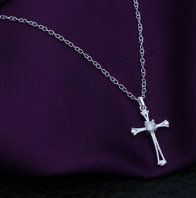 Womens 925 Sterling Silver CZ Crystal Small Cross Pendant Chain Necklace #N174