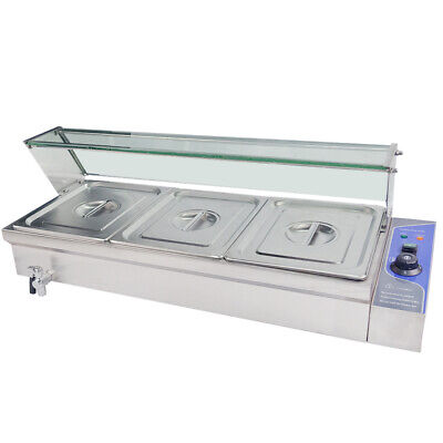 Electrical Bain Marie 3× 1/2 Pan Catering Serving Food Warmer Display Glass Top