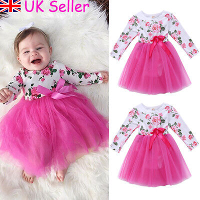 Baby Girls Long Sleeve Floral Tulle Tutu Party Wedding Dress Princess Clothes