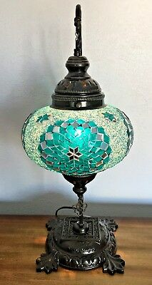 X-Large Mosaic Table Lamp Stained Glass Turkish Moroccan Light Hand Made TEAL
