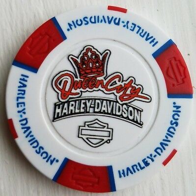 Harley Davidson Poker Chip Queen City Fairfield Ohio Red White Blue FULL COLOR