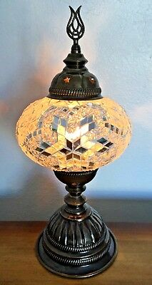 Mosaic Table Lamp Stained Glass Turkish Moroccan Light Hand Made WHITE SILVER