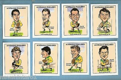 #d138. Set Of 20 Australian Wallabies Rugby Union Character Cards