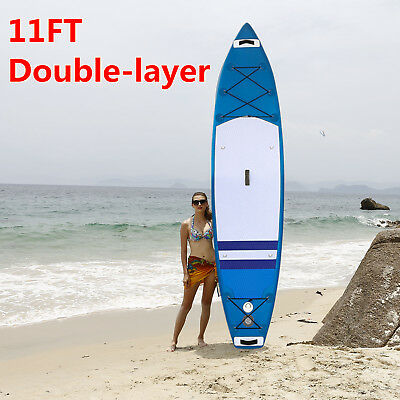 Inflatable Double layer 11' Stand Up Paddle Board SUP Adjustable Paddle Backpack