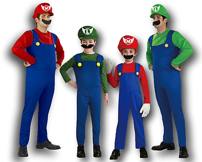 AU Men Kids Super Mario Luigi Bros Fancy Dress Up Adult Cosplay Costume Outfit