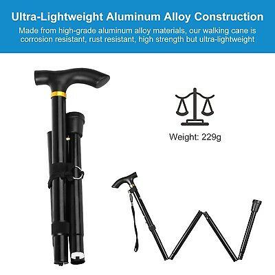 Aluminum Walking Hiking Stick 4 Section Adjustable Foding Trekking Travel Cane