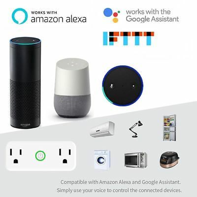 Smart WiFi Socket Dual Outlet Switch US Plug Works with Amazon Alexa Google Home