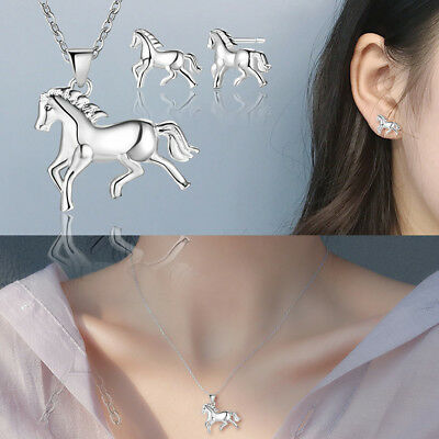 Women Horse Pendant Earrings Ear Stud Necklace Clavicle Chains Jewelry Gift