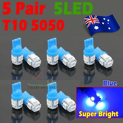 10x 12V BLUE T10 LED 5SMD 5050 CAR DASH TAIL SIDE PARK LIGHT LAMP BULB