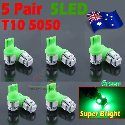 10x Green T10 LED 5SMD 5050 194 168 Car Light Lamp 12V Wedge Tail Side Auto Bulb