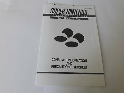 SNES Super Nintendo Consumer Information and precautions booklet manual