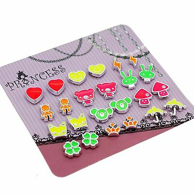 Wholesale Lot of 12 Pairs Fluorescent Color Cute Fashion Magnetic Earrings