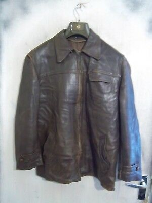 Vintage Ww2 French Horsehide Leather Flying Cyclist Jacket Size L