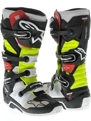 Alpinestars Tech 7 Adult MX Boots Black Red Yellow 5 sizes available