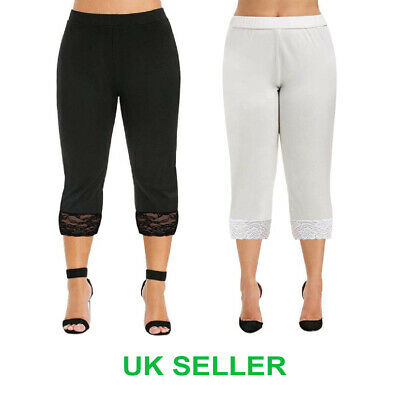 Cropped Leggings With Lace 3/4 Length Casual Cotton Pants Womens Ladies UK Sizes