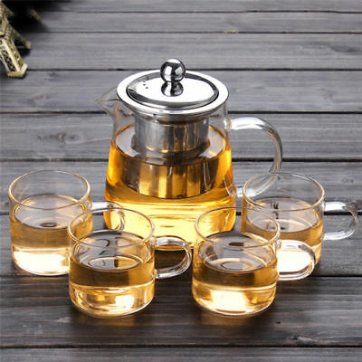 Heat Resistant Glass Teapot with Stainless Steel Filter Coffee Tea Leaf Herbal