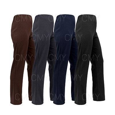Womens Bootleg Trousers Ladies Stretch Finely Ribbed Pants Pull On Bottoms