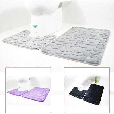 2pc/Set Funnel Cobblestone Non-Slip Bathroom Pedestal Lid Mat Toilet Shower Rug