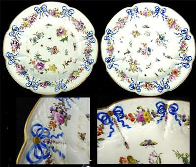 Pair Antique 18Th Century Meissen Porcelain Plates Relief Flowers Insects Ribbon