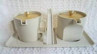 Vintage Tupperware Creamer Sugar Carrying Tray Almond Harvest Gold 1414 1415