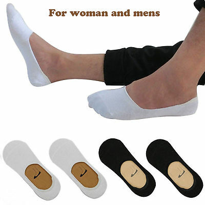 6,12x Pairs Mens Womens White & Black Cotton Rich Summer Invisible Trainer Socks