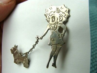 Original Vintage Betty Boop Pin with Scotty Dog 1940's Good