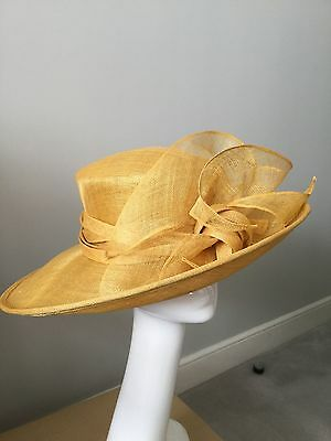 Stunning Vintage Graham Smith Yellow/gold Straw Picture Hat Wedding/races/summer