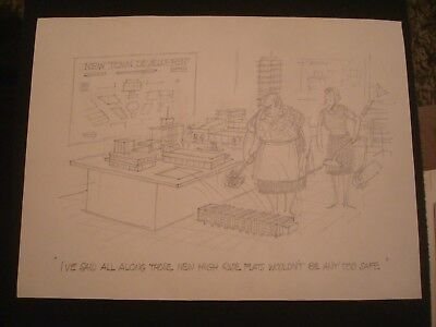 Original a e beard punch artist pencil sketch 11 x 8 ins block of flats joke